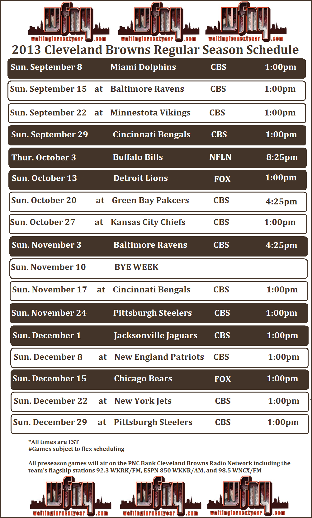 WFNY Cleveland Browns 2013 Printable Schedule 2