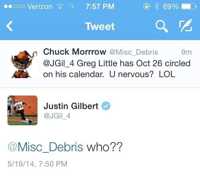 Justin Gilbert trolls Greg Little